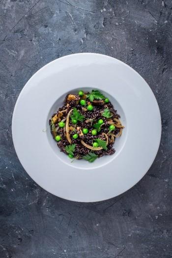 Чёрный рис с баклажанами и грибами (1)