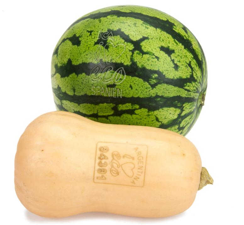 лазерная этикетка на овощах и фруктах