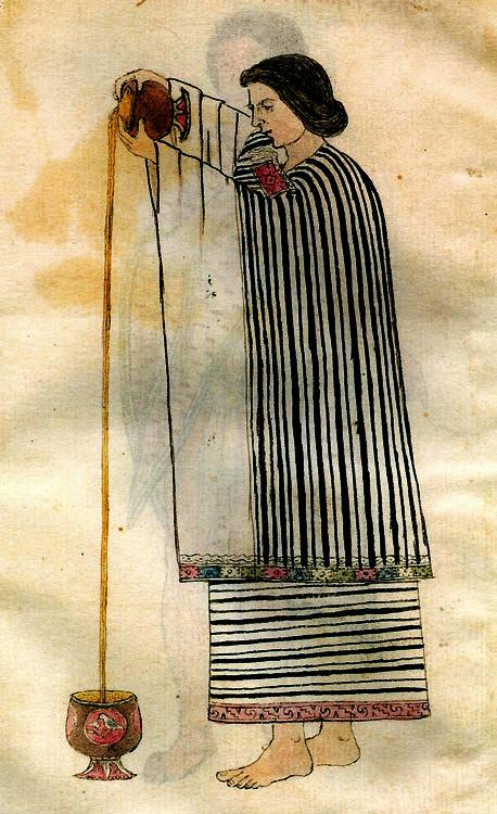 Ацтекская женщина готовит какао