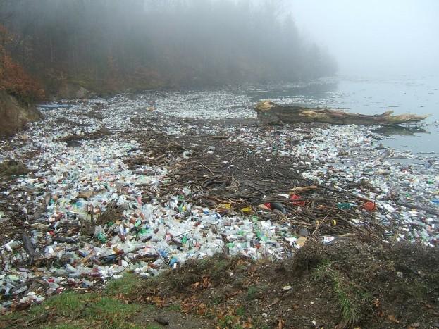пластик около водоемов